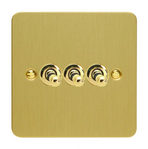 Varilight XFBT3 Ultraflat Brushed Brass 3 Gang 10A 1 or 2 Way Toggle Light Switch